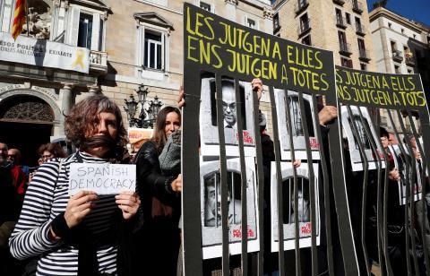 Protesta en Barcelona por el juicio del 'procés'