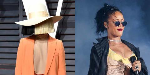 Sia  en 2017 en la Vanity Fair Oscar Party; Rihanna actuando en 2015.