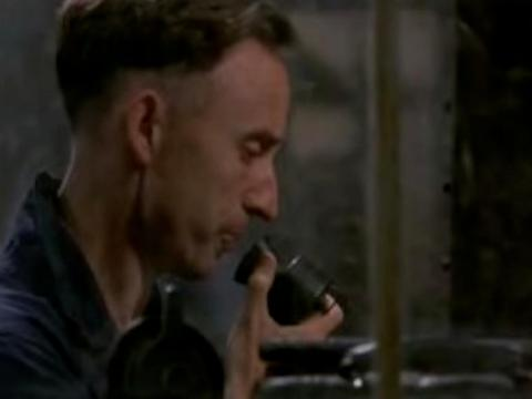 "John Hurt using the Speakwrite as ""Winston"" in the 1984 adaption of 1984."