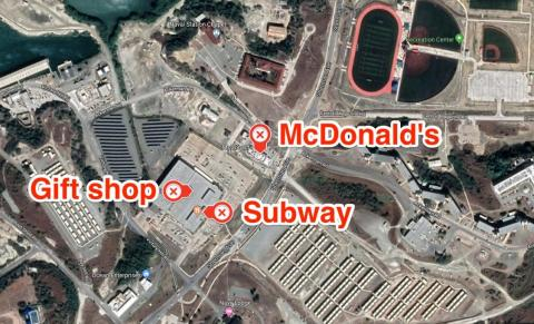 Surrounding the gift shop — which is operated by the US Navy Exchange — are a number of familiar outlets, like Subway and McDonald's.
