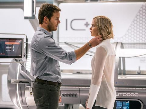 """Toxic man: Jim Preston in """"Passengers,"""" woke up a woman and sentenced her to death just because he liked her."""