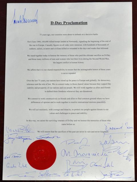 Trump's lonely signature at the top of a D-Day proclamation is making the rounds on social media after other world leaders signed at the bottom