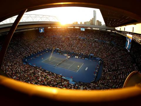 The vibe is almost peaceful as the sun sets on the Australian Open.