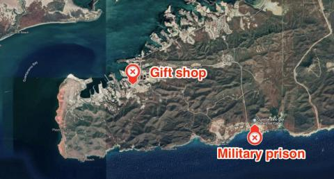 Welcome to southwestern Guantanamo Bay, Cuba, an island that's home to a US naval base and notorious high-security detention camp. The gift store and military prison are about 4.5 miles away from each other.