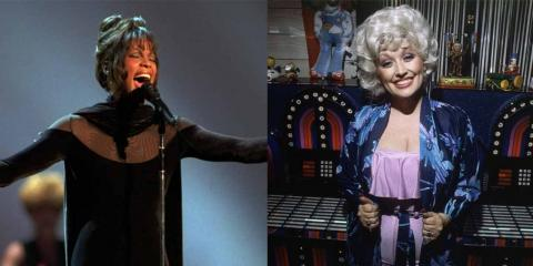 Whitney Houston actuando en 1994 en American Music Awards; Dolly Parton en 1980.