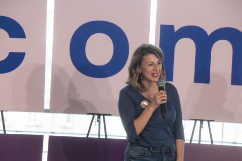 Yolanda Díaz, en un acto de campaña con Unidas Podemos.