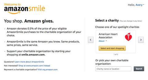 11. Compra con Amazon Smile, y la compañía donará un porcentaje del total de tu pedido a una organización benéfica de tu elección sin costo adicional para ti.