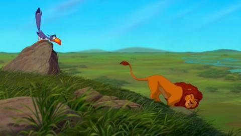 Mufasa sale corriendo por sí solo en la peli original.