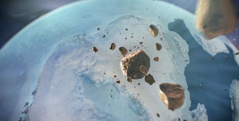 Una ilustración que muestra a variosasteroides dirigiéndose a toda velocidad hacia el norte de Groenlandia.