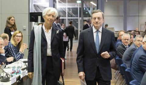 Christine Lagarde, presidenta del FMI, y Mario Draghi, presidente del BCE.
