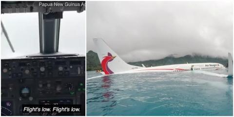 La cabina del avión de Air Niugini después de que se estrellara en septiembre, a la izquierda, y el avión en el agua, a la derecha.