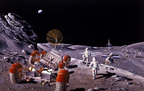 Concepto artístico de una colonia lunar
