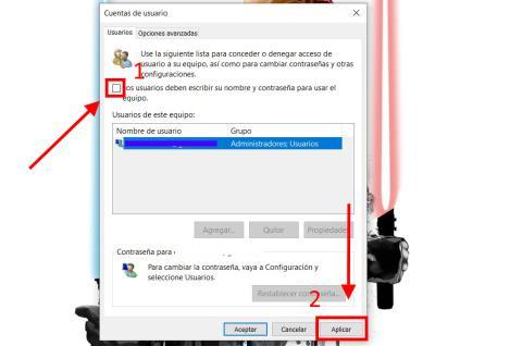 Como eliminar la contraseña de inicio de Windows 10