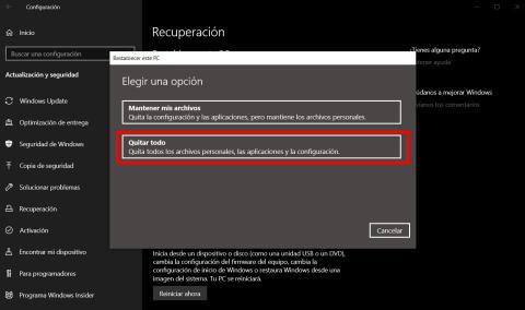Cómo restablecer de fábrica Windows 10
