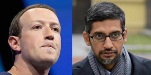 A composite image of Facebook CEO Mark Zuckerberg and Google CEO Sundar Pichai.