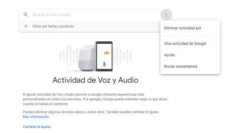 Eliminar grabaciones Google