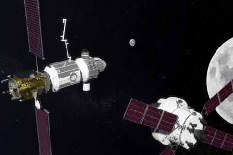 Representación artística de la futura pasarela lunar Gateway de la NASA