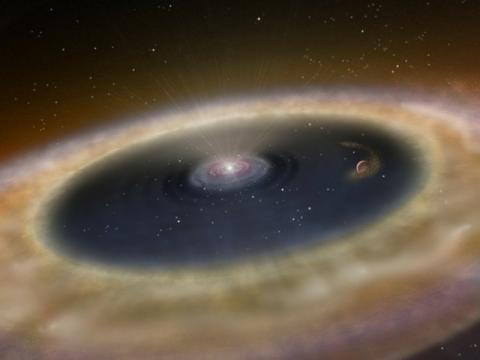 Impresión artística de un disco protoplanetario.