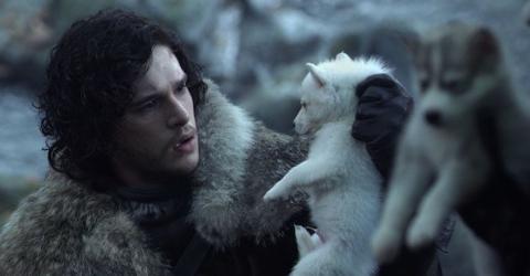 Jon Snow con Fantasma en Juego de tronos