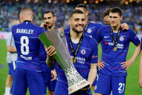 Los jugadores del Chelsea festejan su título de campeones de la UEFA Europa League 2019