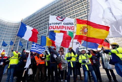 Manifestación de los sindicatos europeos del acero contra el dumping chino