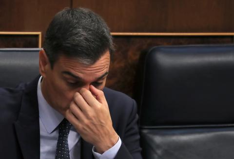 Pedro Sánchez durante la sesión de investidura en el Congreso de los Diputados.