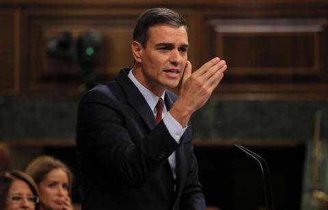 Pedro Sánchez durante la sesión de investidura.
