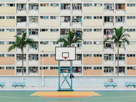 The colorful Choi Hung Estate public housing in Hong Kong.