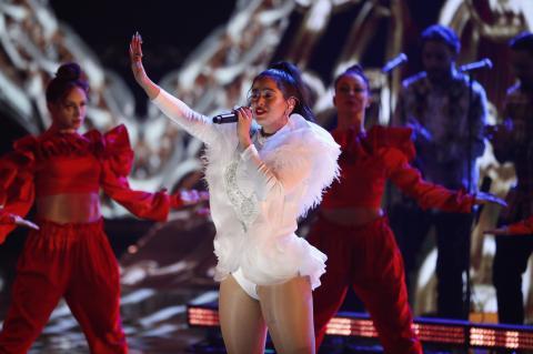 Rosalía, en Las Vegas, en la ceremonia de los Grammy Latino.