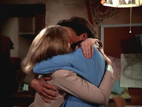 "Sam and Diane's very passionate first kiss in ""Cheers."""