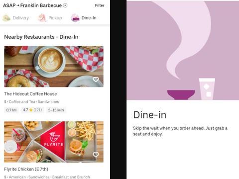 Screenshots of Uber Eats' app in Austin, Texas.
