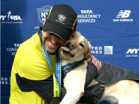 Westley, Waffle, and Gus helped Thomas Panek become the first blind person to complete the New York City Half Marathon with guide dogs.