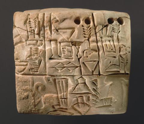 Una tablilla cuneiforme sumeria de alrededor del 3.100-2.900 a. C.