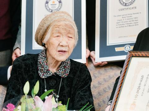 116-year-old Japanese woman Kane Tanaka holds a Guinness World Records certificate naming her the world's oldest person living during a ceremony in Fukuoka, Japan.