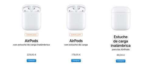 Los AirPods a la venta actualmente en la web de Apple.