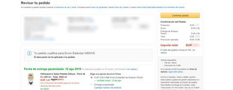 Amazon Pantry combina perfectamente aquellas que descuentan parte del montante total y los gastos de envío