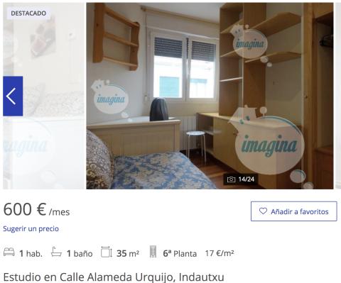 Anuncio de un piso en alquiler en Bilbao