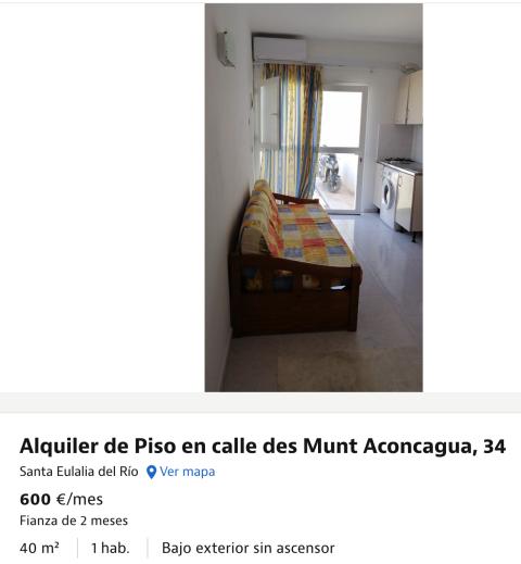 Anuncio de un piso bajo en alquiler en Ibiza