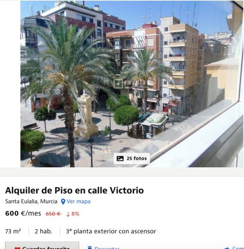 Anuncio de un piso en alquiler en Murcia