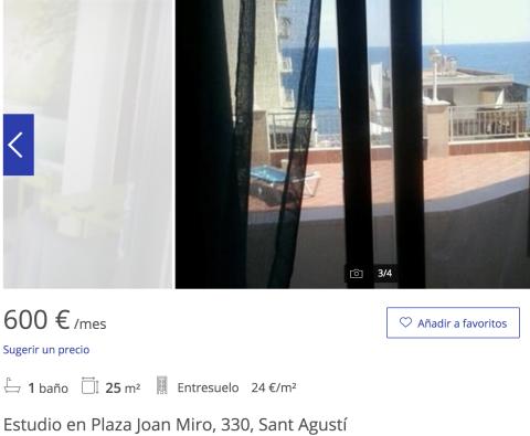 Anuncio de un piso en alquiler en Palma de Mallorca
