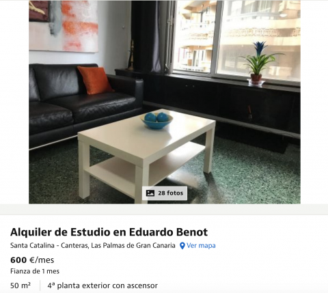 Anuncio de un piso en alquiler en Las Palmas de Gran Canaria