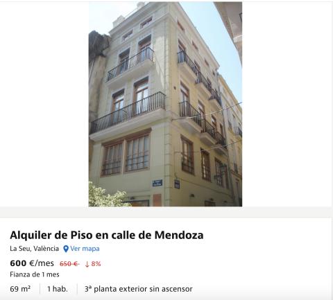 Anuncio de un piso en alquiler en Valencia