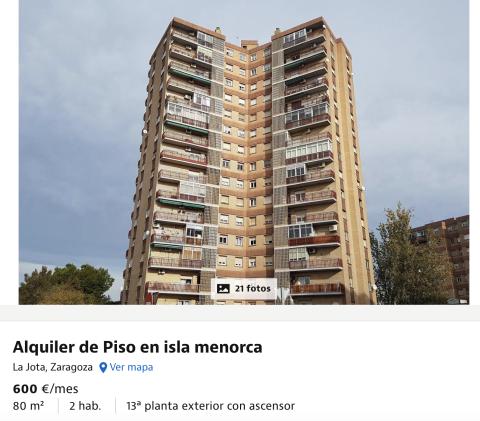 Anuncio de un piso en alquiler en Zaragoza