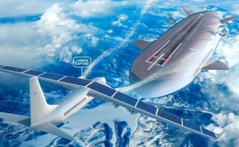 Los aviones eléctricos tendrán estaciones de recarga voladoras.