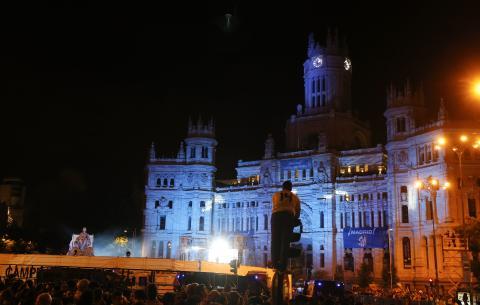 El Ayuntamiento de Madrid, durante una celebración del Real Madrid.