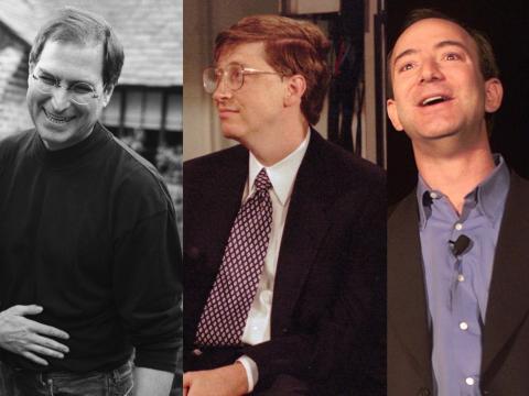 Grandes líderes de la tecnología: Bill Gates, Steve Jobs y Jeff Bezos