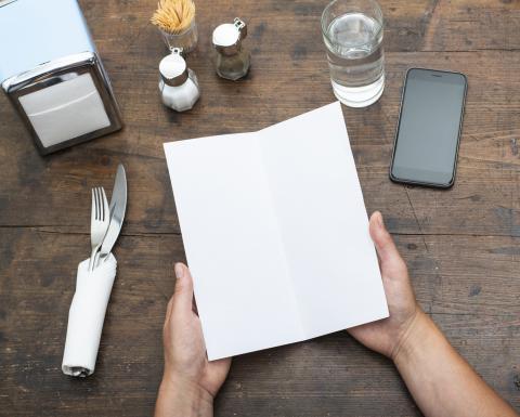 Carta en un restaurante.