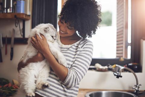 Chica con un gato en sus brazos