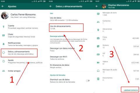 Cómo ahorrar espacio de WhatsApp en Android limpiando el contenido.