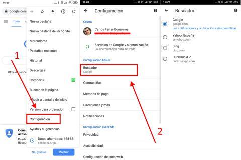 Cómo cambiar el buscador por defecto de Chrome en móvil